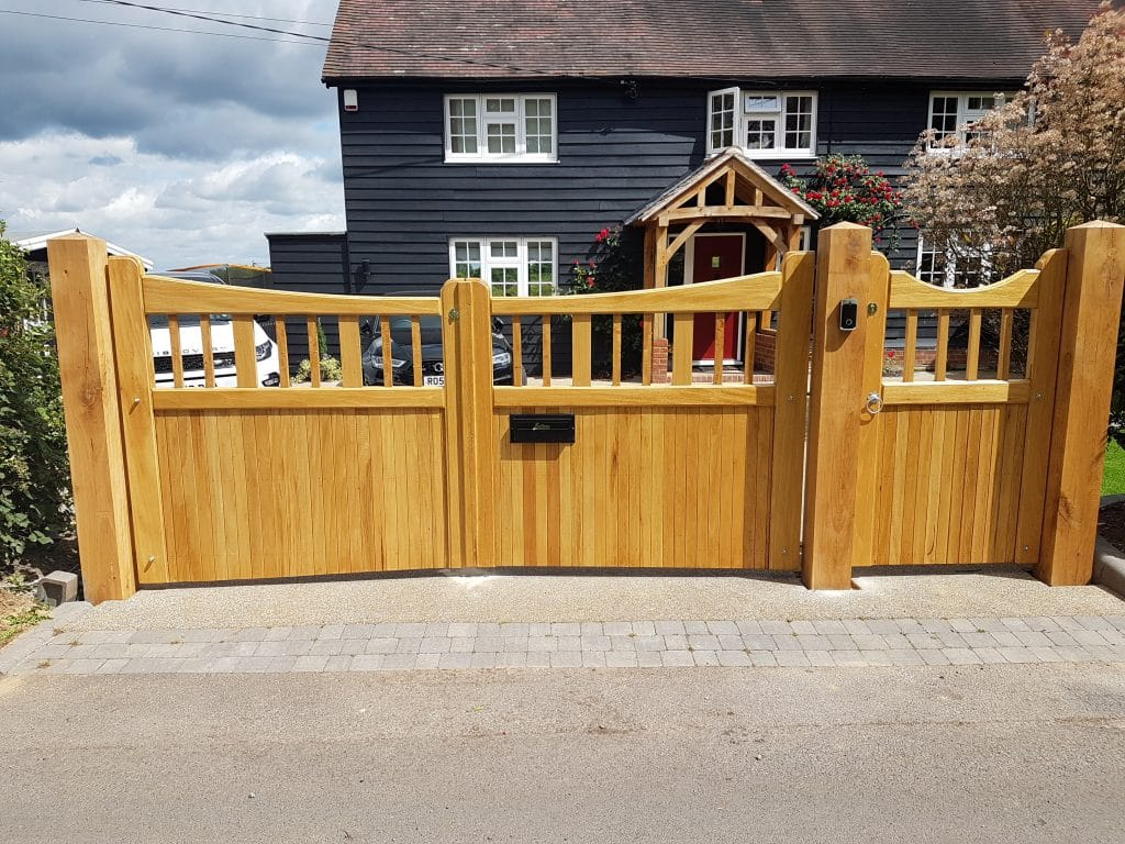 Idigbo hardwood driveway gates and side gate