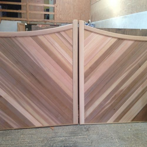 Cedar gates, wooden driveway gates with herringbone (diagonal) pattern