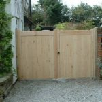 Flat Top Double Wooden Driveway Gates