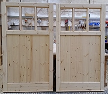 Wooden Garage Doors - Half panel - 3 openings for windows