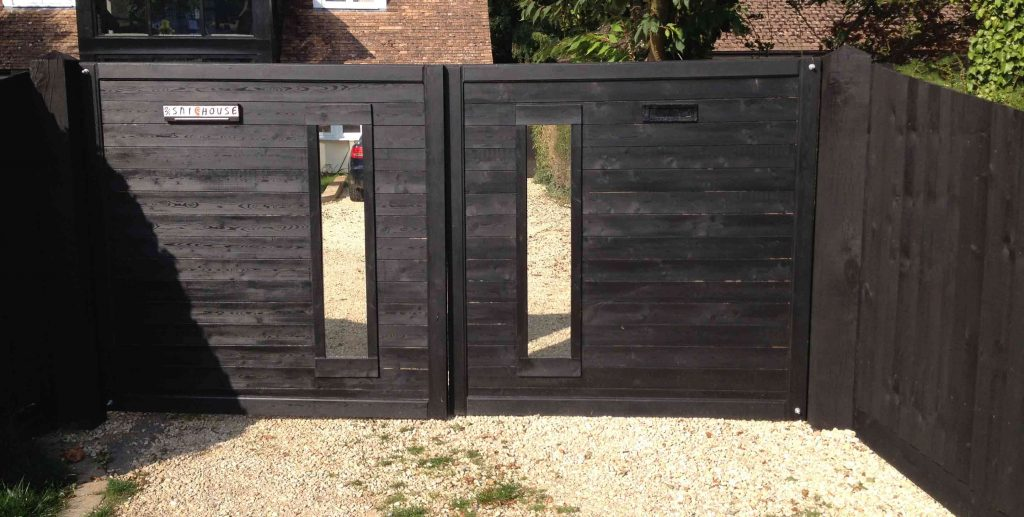 Flat Top windowed Double Wooden Driveway Gates (does not include glass)