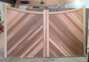 Reverse Arched Top Wooden Driveway Gates