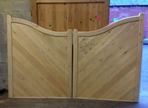 Reverse Swan Neck Wooden Driveway Gates