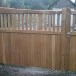 Square Spindle Top Double Sliding Gates (rear view)