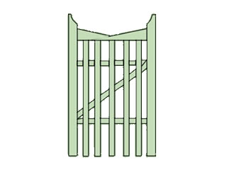 Reverse Slope Picket Garden Gate