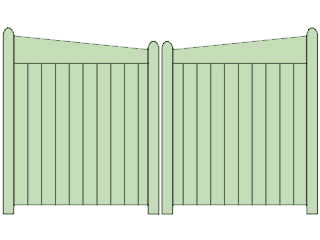 Reverse Slope Top Double Sliding Gates
