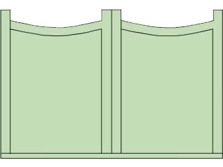 Double Scalloped Top Double Sliding Gates