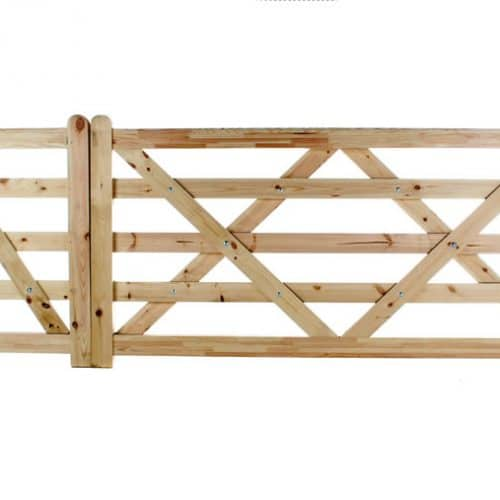 Flat Top 5 Bar Wooden Gates with Pedestrian Gate
