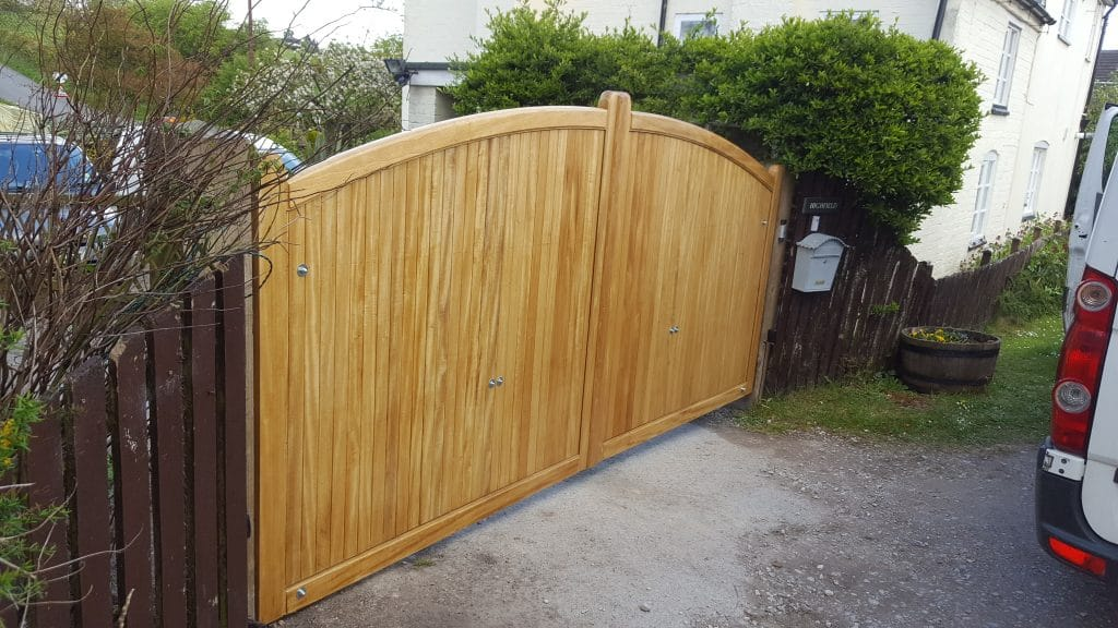 Idigbo hardwood driveway gates